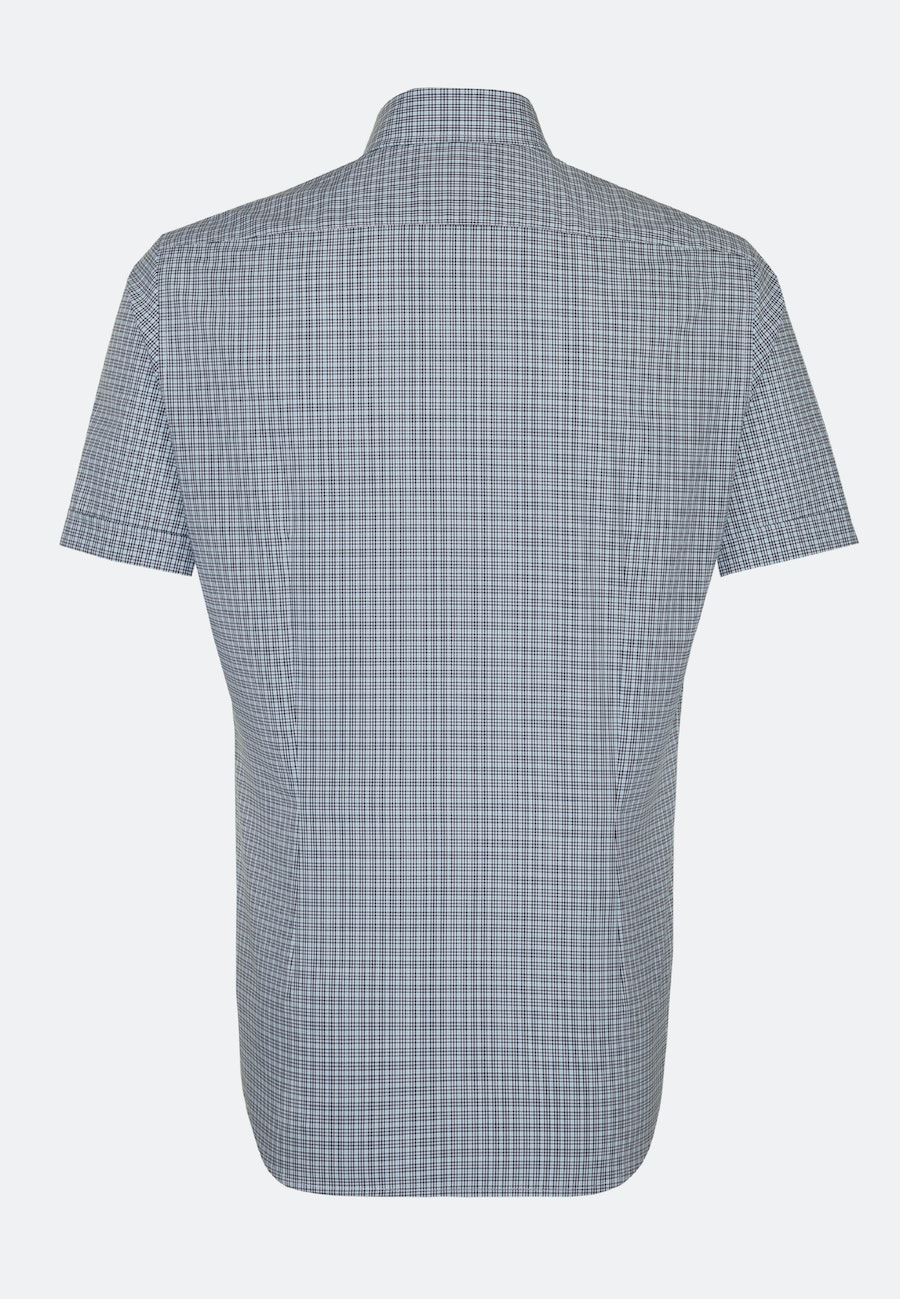 Easy-iron Poplin Short sleeve Business Shirt in Shaped with Covered-Button-Down-Collar in Turquoise |  Seidensticker Onlineshop