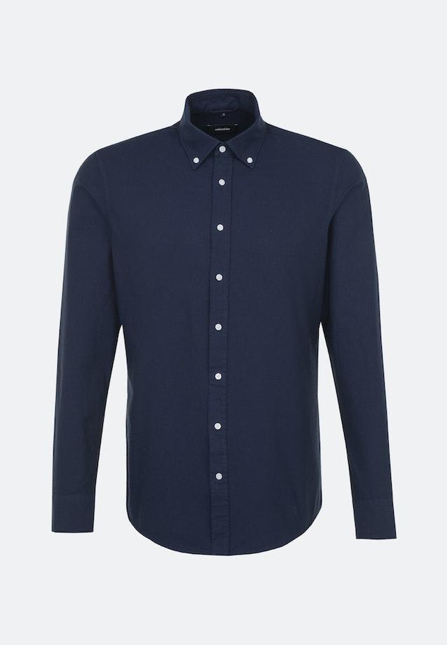 Bügelleichtes Oxford Business Hemd in Shaped mit Button-Down-Kragen in Dunkelblau |  Seidensticker Onlineshop