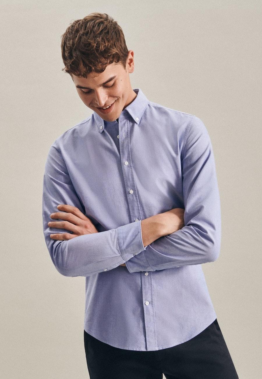 Bügelleichtes Oxford Business Hemd in Slim mit Button-Down-Kragen in Hellblau |  Seidensticker Onlineshop