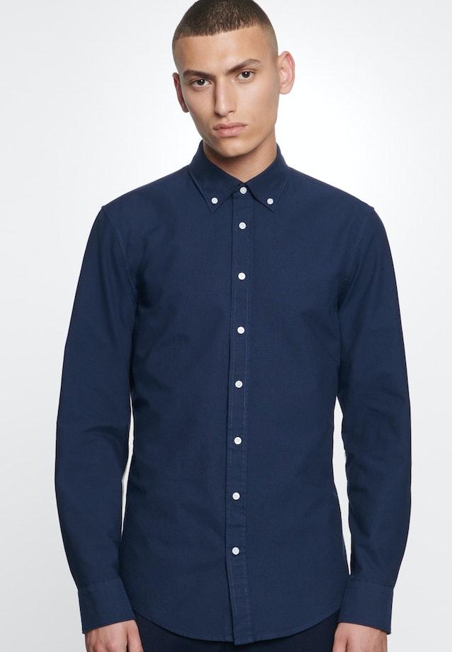 Bügelleichtes Oxford Business Hemd in Slim mit Button-Down-Kragen in Dunkelblau |  Seidensticker Onlineshop