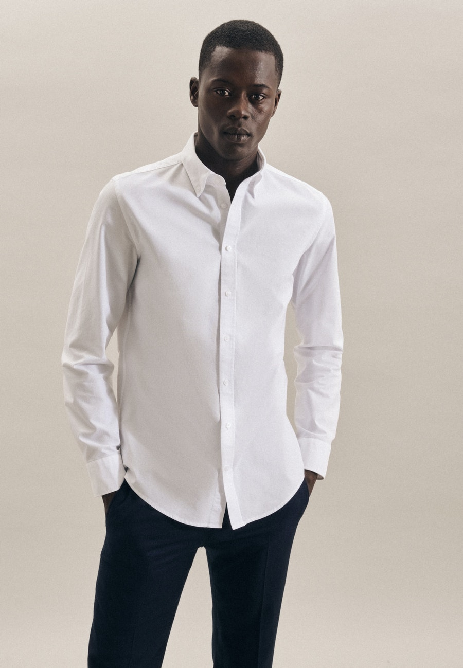 Oxfordhemd in Slim mit Button-Down-Kragen in Weiß |  Seidensticker Onlineshop