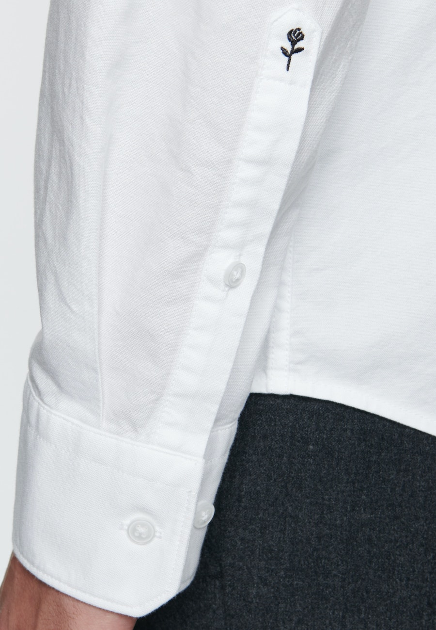 Bügelleichtes Oxford Business Hemd in Slim mit Button-Down-Kragen in Weiß |  Seidensticker Onlineshop