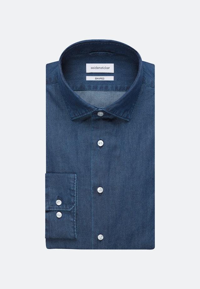 Bügelleichtes Denim Business Hemd in Shaped mit Kentkragen in Dunkelblau |  Seidensticker Onlineshop
