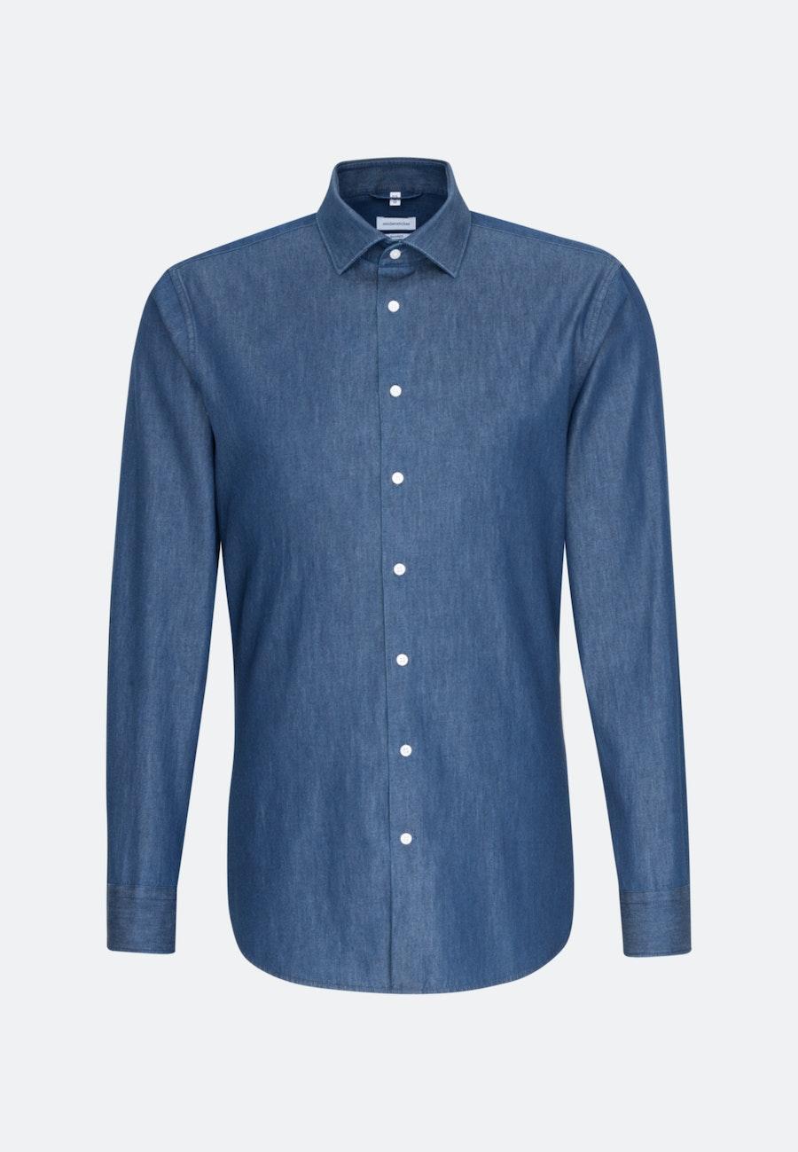 Easy-iron Denim Business Shirt in Shaped with Kent-Collar in Dark blue |  Seidensticker Onlineshop