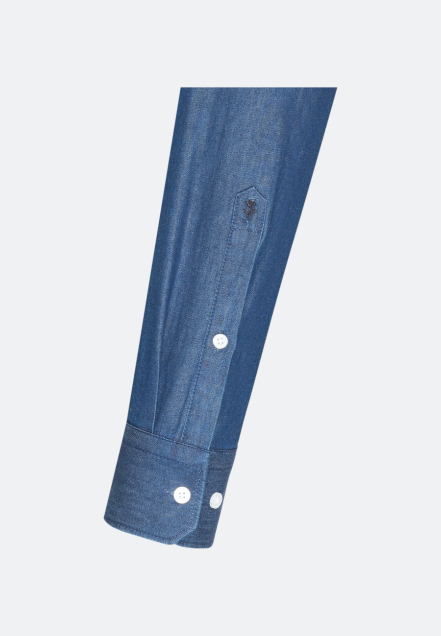 Bügelleichtes Denim Business Hemd in Shaped mit Kentkragen in Dunkelblau |  Seidensticker Onlineshop