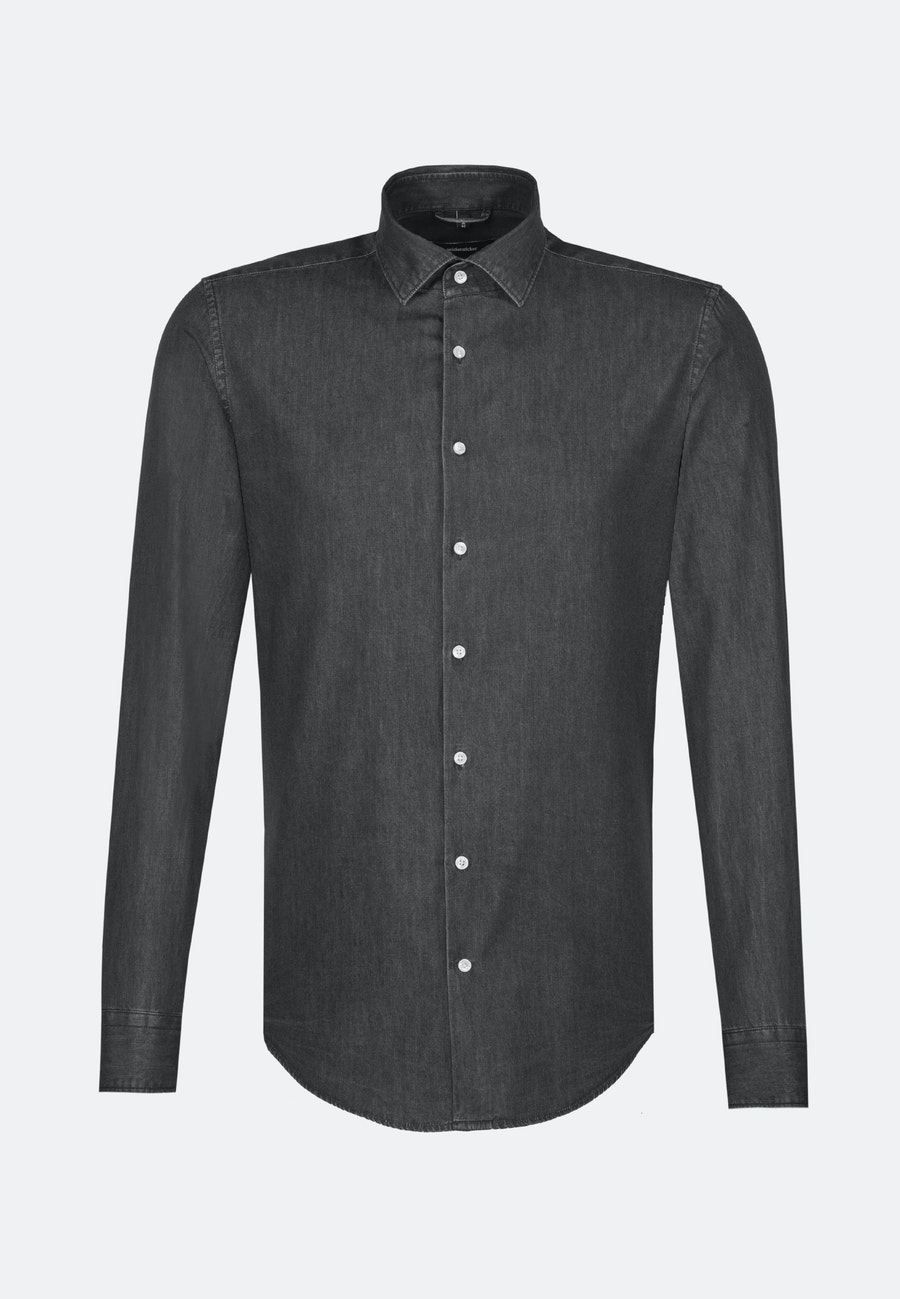 Easy-iron Denim Business Shirt in Shaped with Kent-Collar in Grey |  Seidensticker Onlineshop