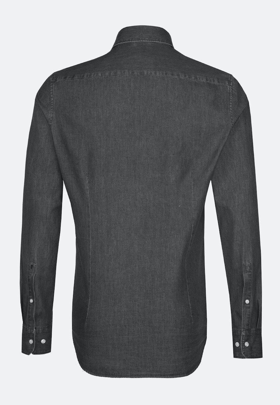Bügelleichtes Denim Business Hemd in Shaped mit Kentkragen in Grau |  Seidensticker Onlineshop