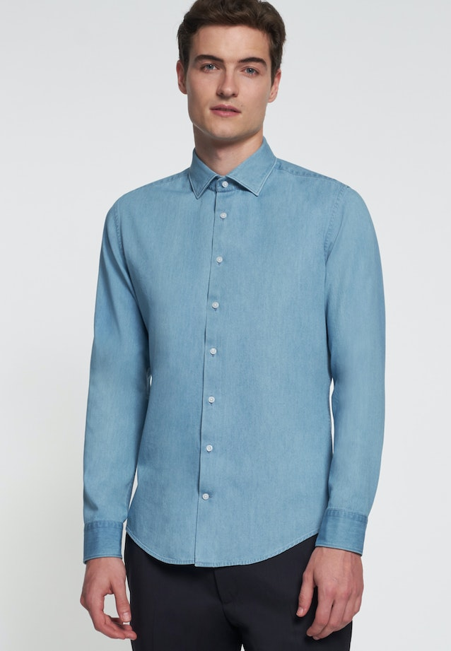 Easy-iron Denim Business Shirt in Slim with Kent-Collar in Light blue |  Seidensticker Onlineshop