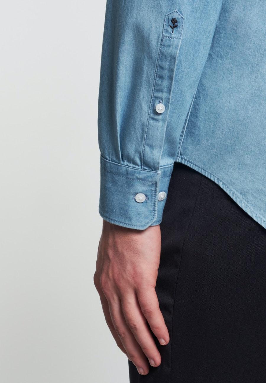 Bügelleichtes Denim Business Hemd in Slim mit Kentkragen in Hellblau |  Seidensticker Onlineshop