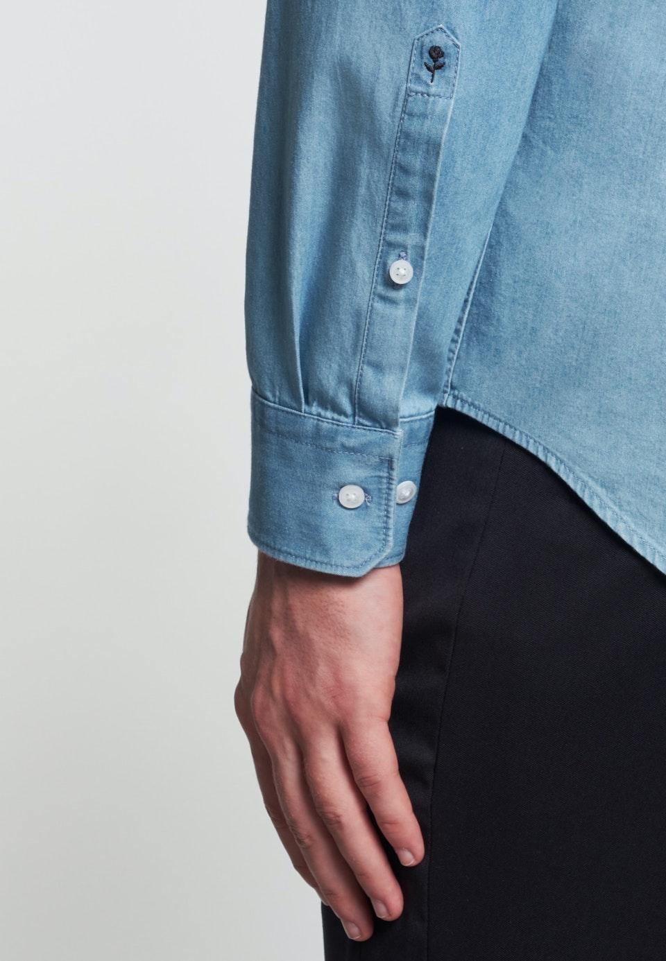 Easy-iron Denim Business Shirt in Slim with Kent-Collar in Light blue |  Seidensticker Onlineshop