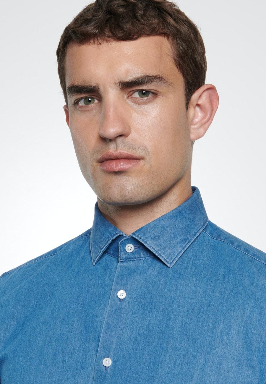 Denimhemd in Slim mit Kentkragen in Mittelblau |  Seidensticker Onlineshop