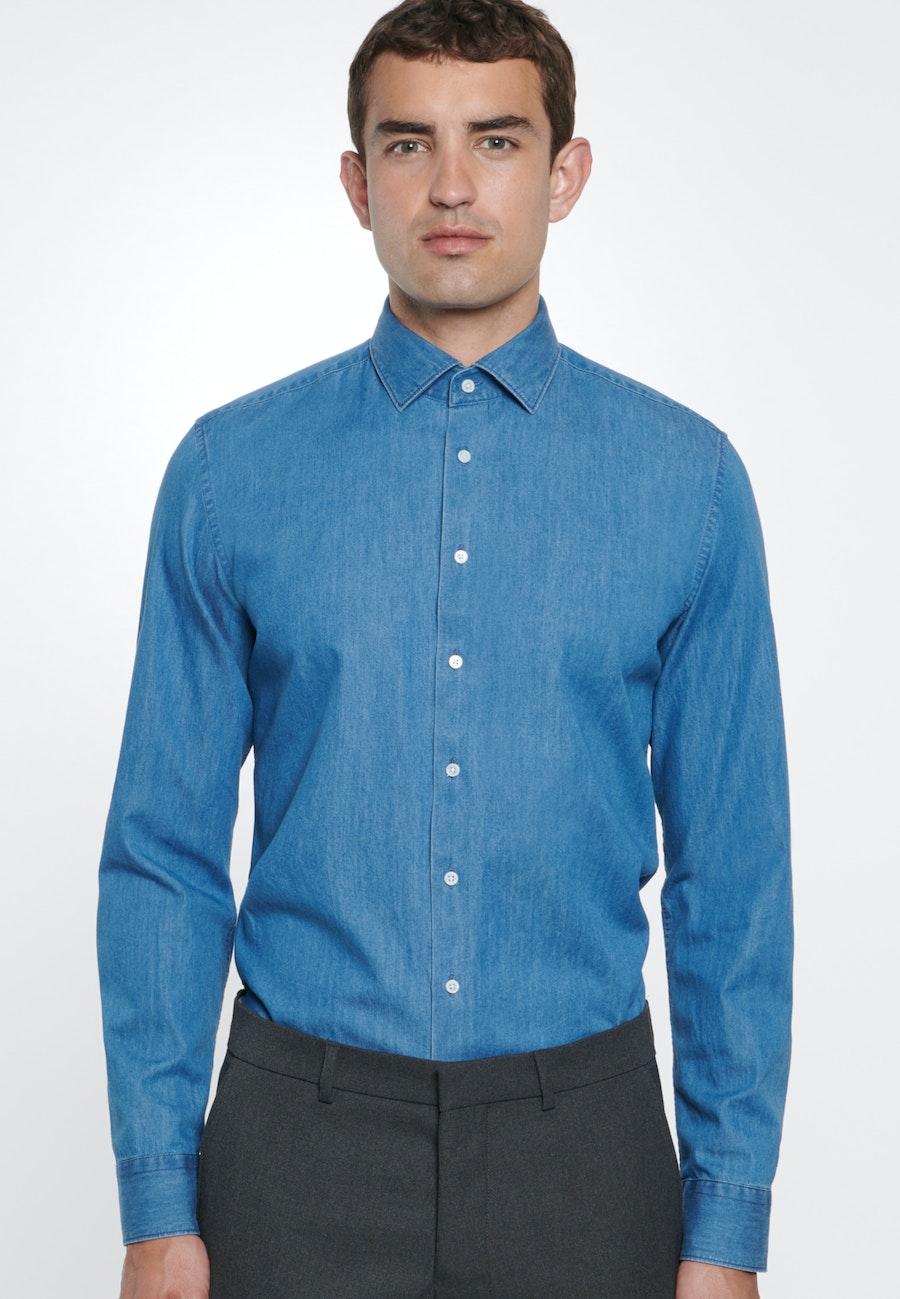 Bügelleichtes Denim Business Hemd in Slim mit Kentkragen in Mittelblau |  Seidensticker Onlineshop