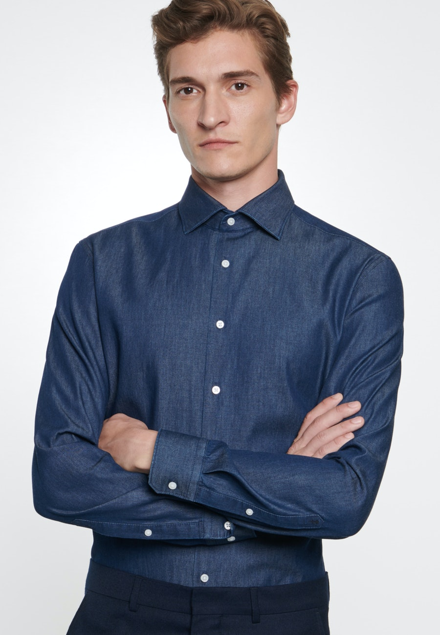 Denim shirt in Slim with Kent-Collar in Dark blue    Seidensticker Onlineshop
