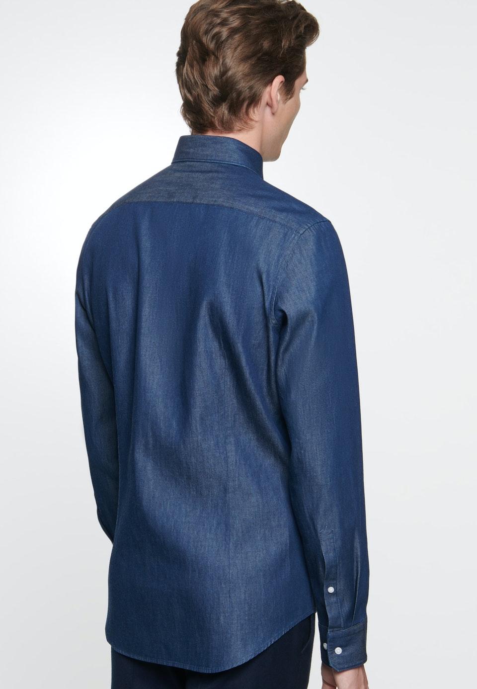 Bügelleichtes Denim Business Hemd in Slim mit Kentkragen in Dunkelblau    Seidensticker Onlineshop