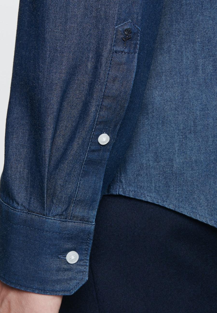 Bügelleichtes Denim Business Hemd in Slim mit Kentkragen in Dunkelblau |  Seidensticker Onlineshop