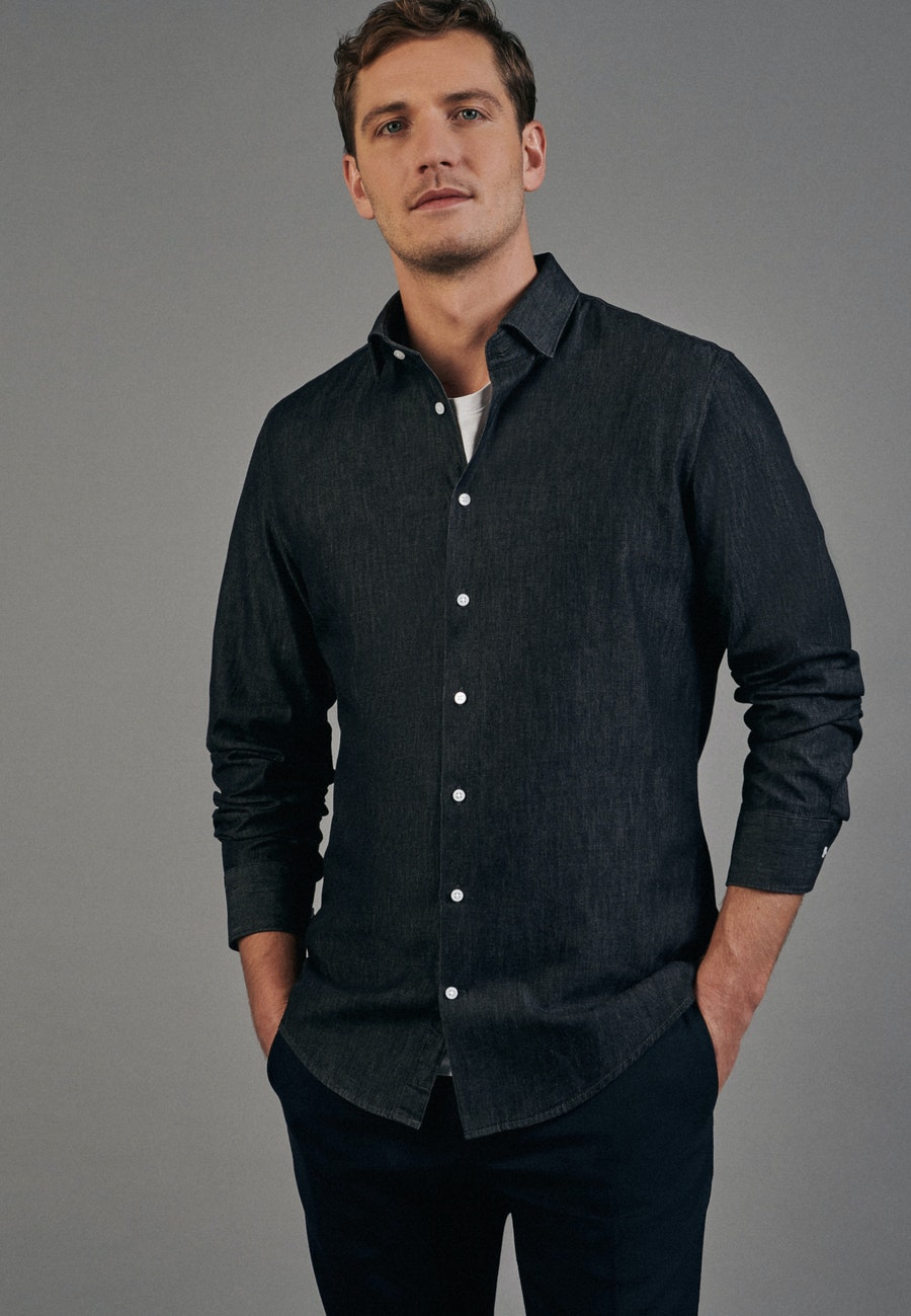 Easy-iron Denim Business Shirt in Slim with Kent-Collar in Grey |  Seidensticker Onlineshop