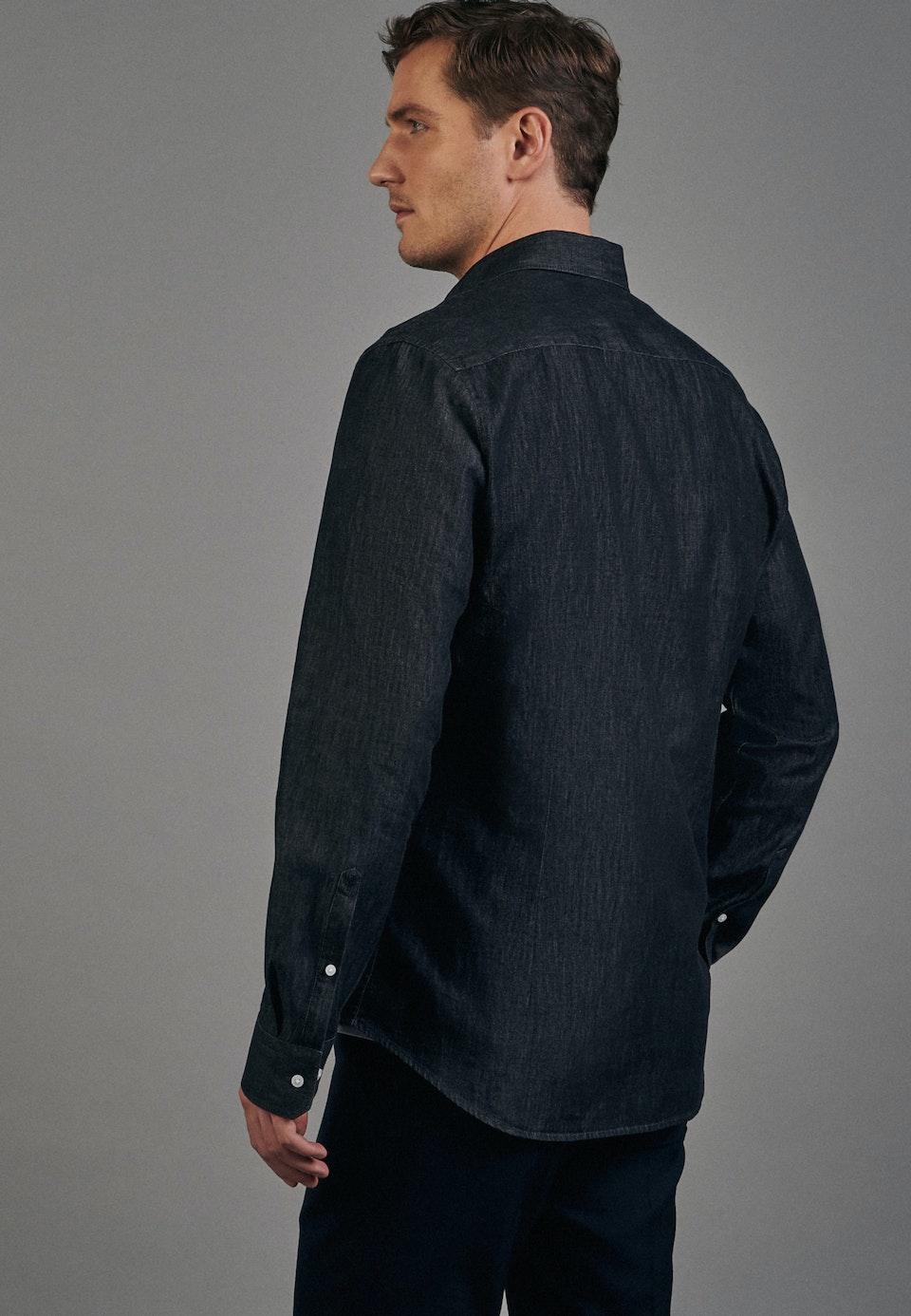 Denim shirt in Slim with Kent-Collar in Grey |  Seidensticker Onlineshop