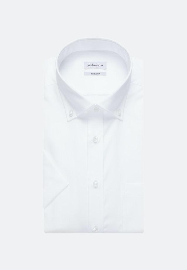 Bügelfreies Popeline Kurzarm Business Hemd in Regular mit Button-Down-Kragen in Weiß |  Seidensticker Onlineshop