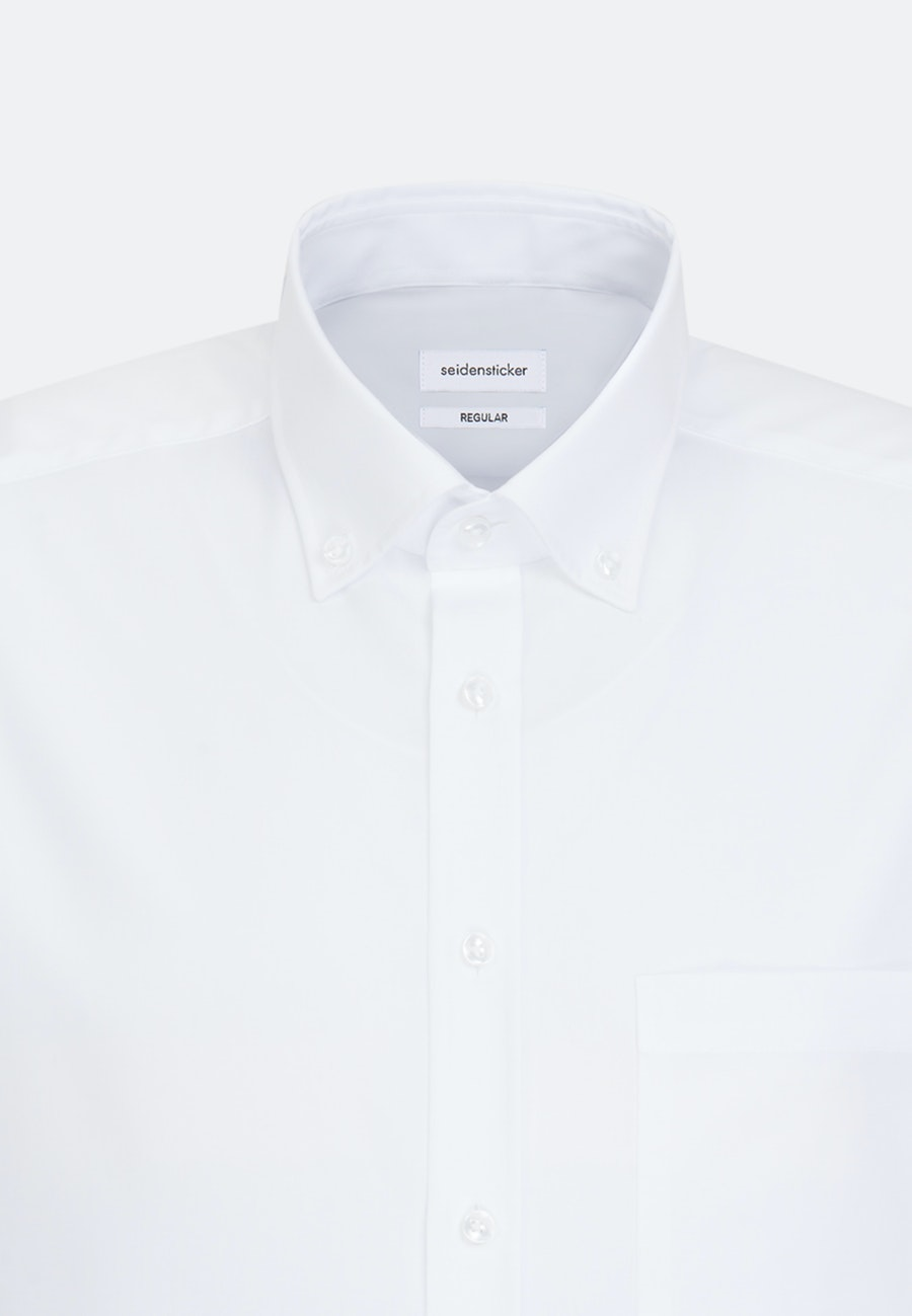 Bügelfreies Popeline Kurzarm Business Hemd in Regular mit Button-Down-Kragen in Weiß |  Seidensticker Onlineshop