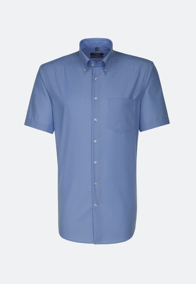 Non-iron Poplin Short sleeve Business Shirt in Regular with Button-Down-Collar in Blue |  Seidensticker Onlineshop