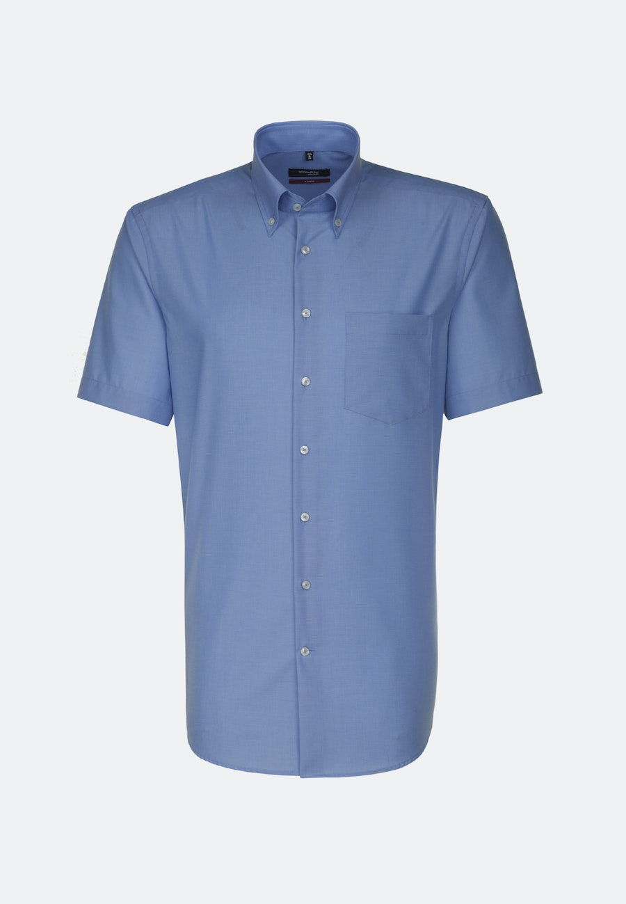 Non-iron Popeline Short sleeve Business Shirt in Regular with Button-Down-Collar in Blue |  Seidensticker Onlineshop