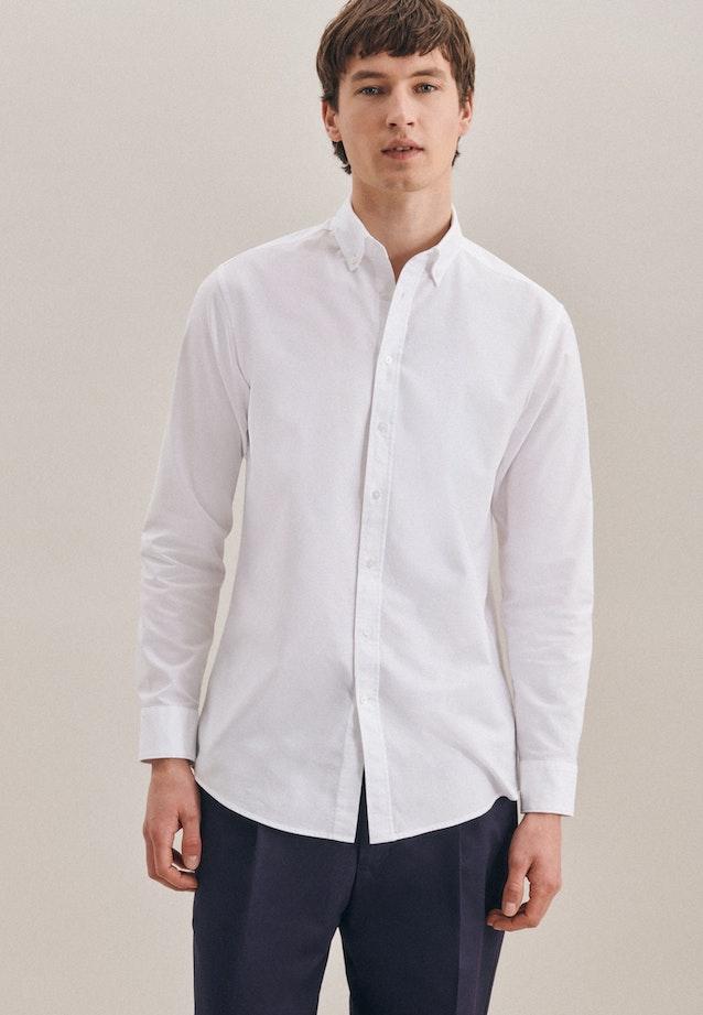 Oxfordhemd in Regular mit Button-Down-Kragen in Weiß |  Seidensticker Onlineshop