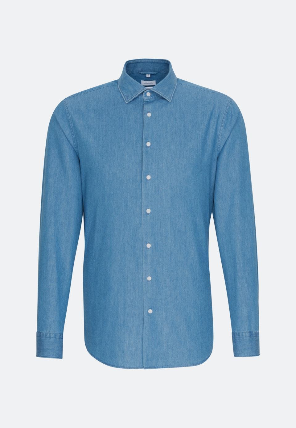Bügelleichtes Denim Business Hemd in Regular mit Kentkragen in Mittelblau |  Seidensticker Onlineshop