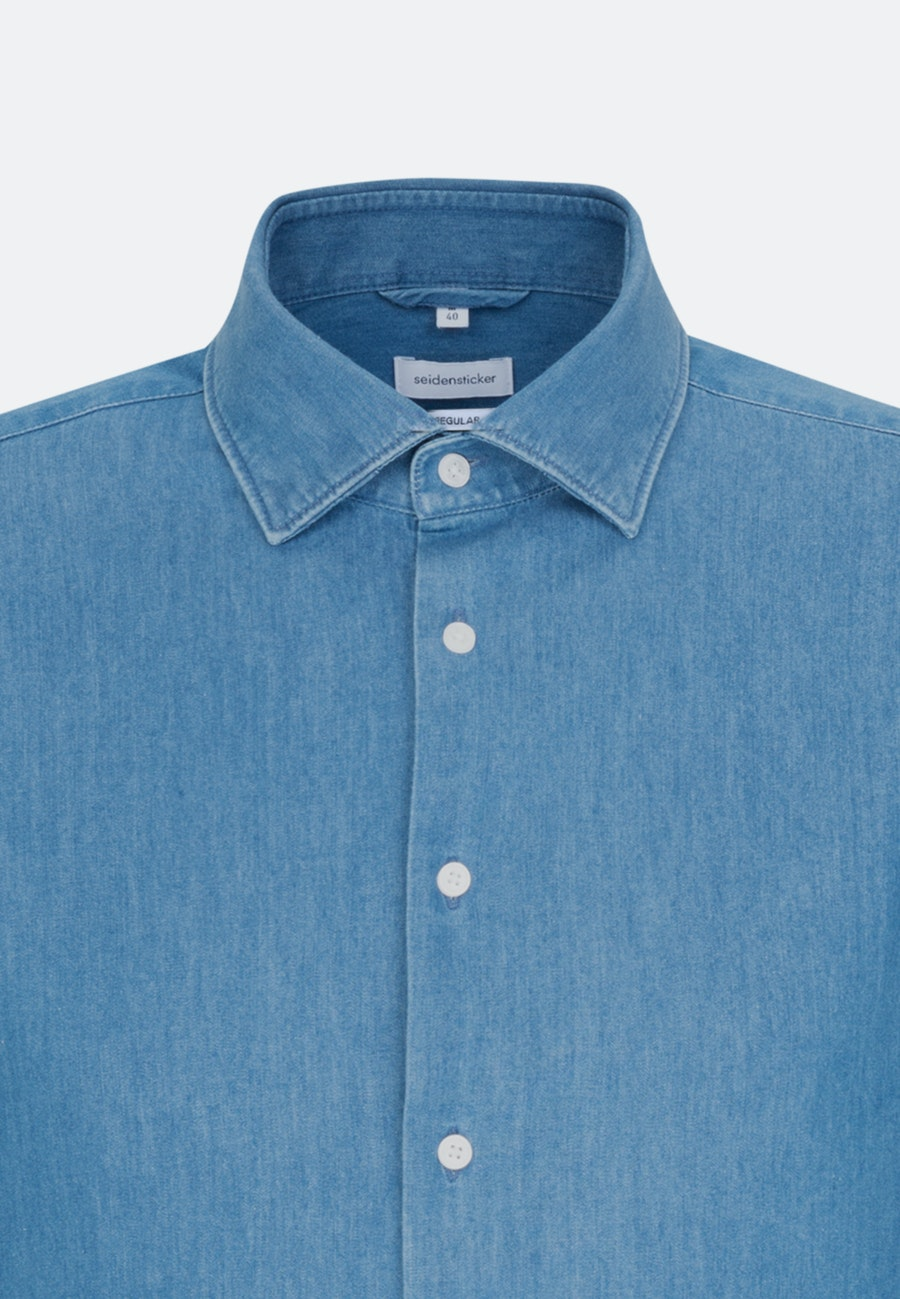 Easy-iron Denim Business Shirt in Regular with Kent-Collar in Medium blue |  Seidensticker Onlineshop