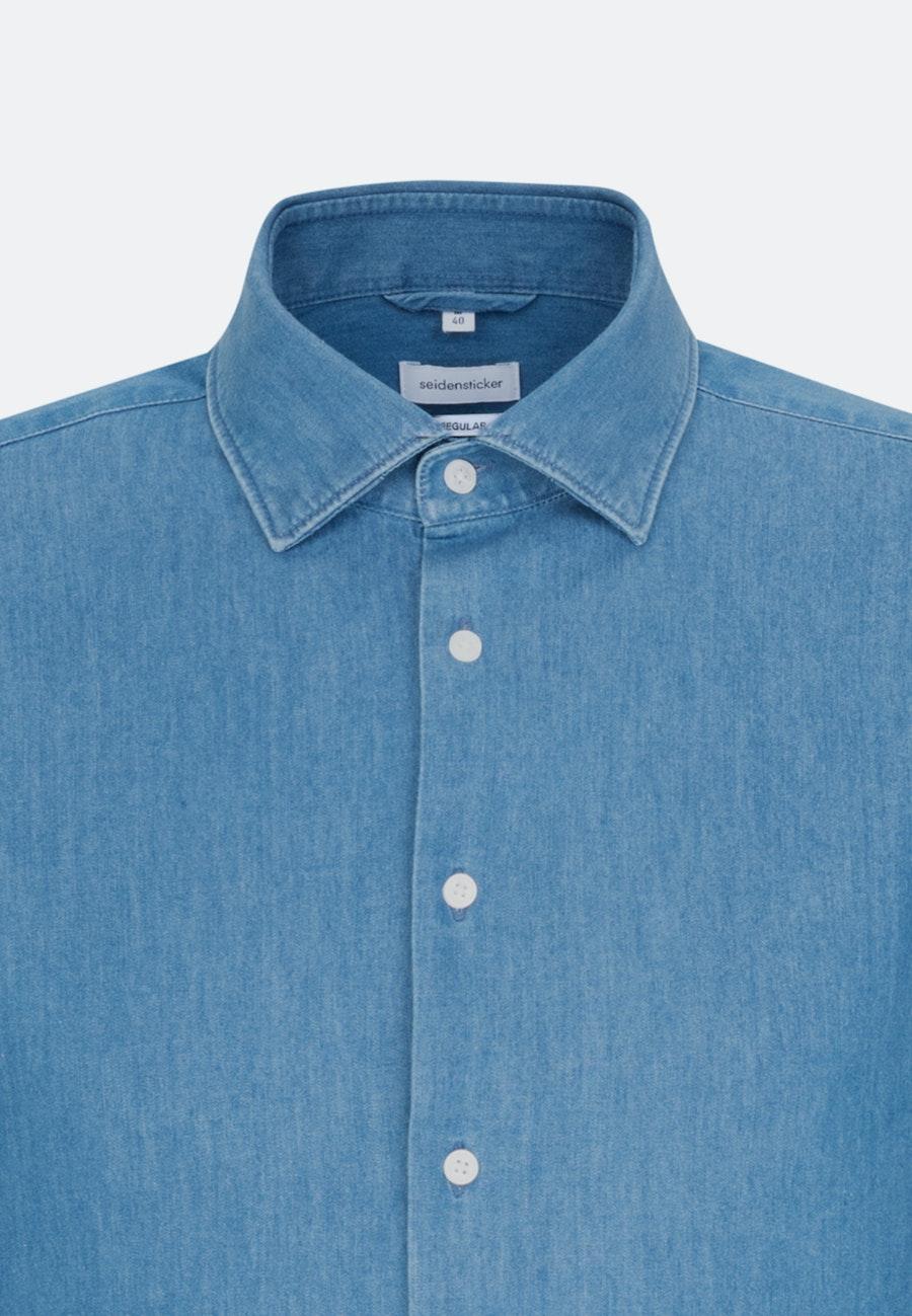 Easy-iron Denim Business Shirt in Regular with Kent-Collar in Medium blue |  Seidensticker Onlineshop