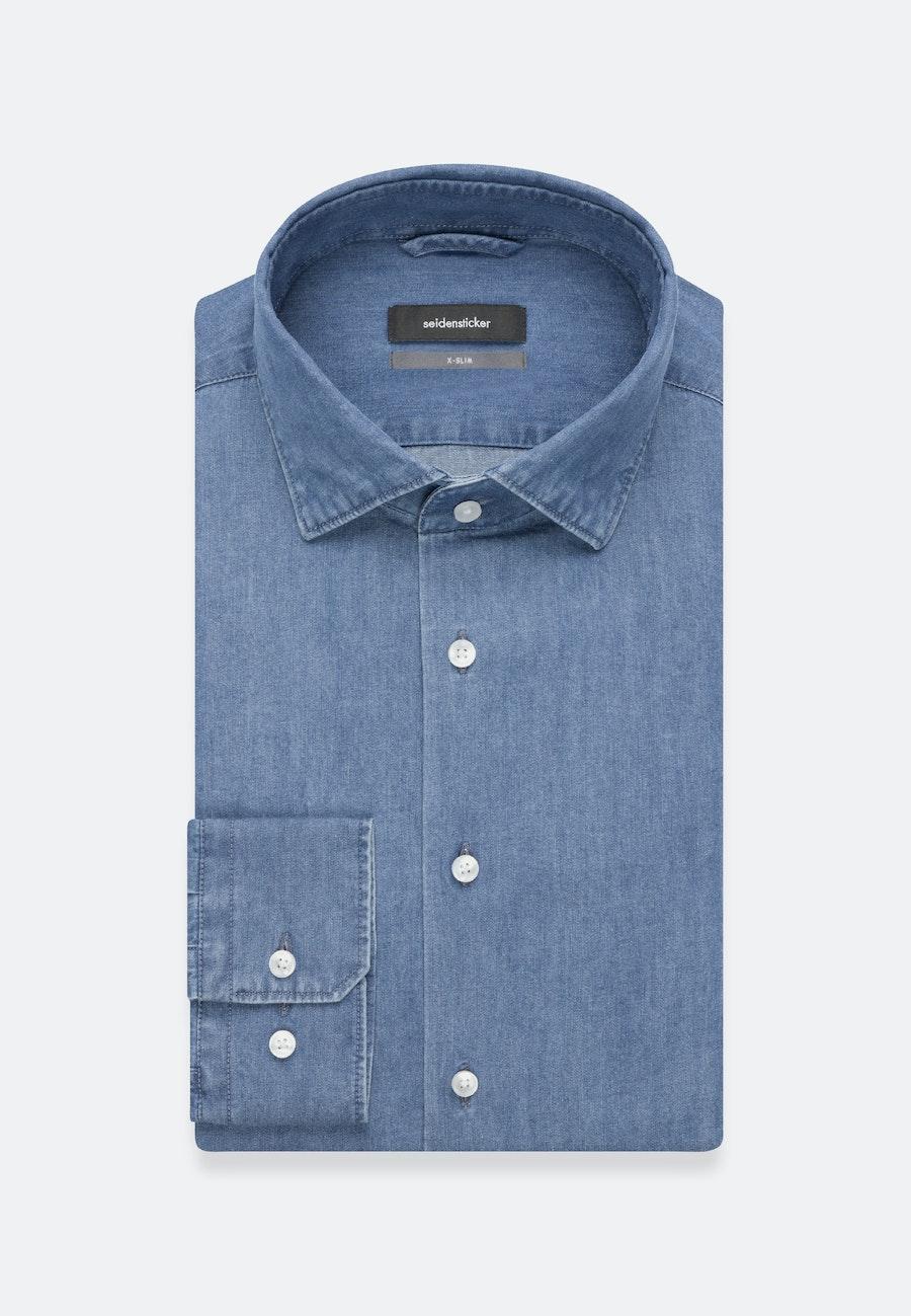 Easy-iron Denim Business Shirt in X-Slim with Kent-Collar in Medium blue |  Seidensticker Onlineshop