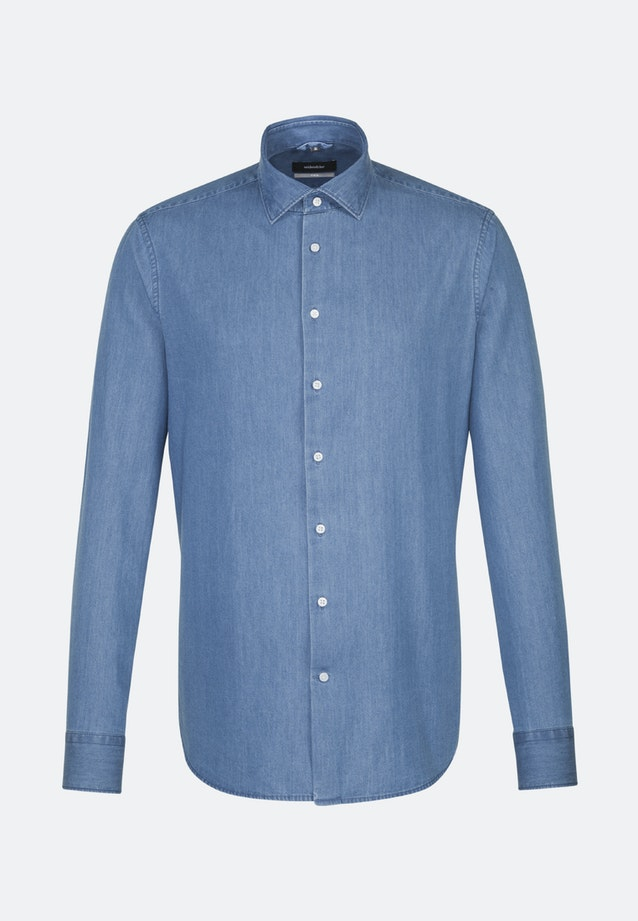 Easy-iron Denim Business Shirt in X-Slim with Kent-Collar in Medium blue |  Seidensticker Onlineshop