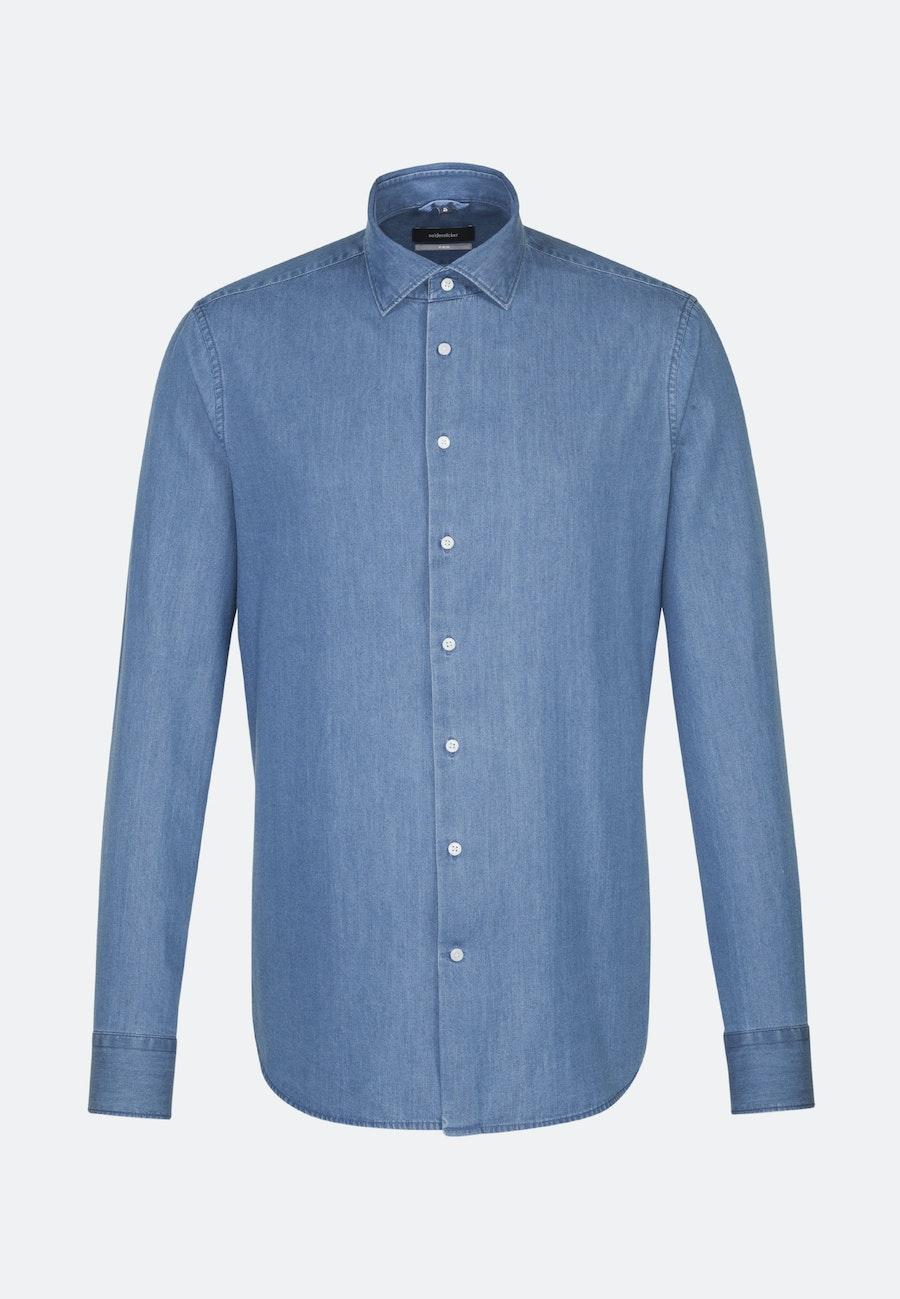 Bügelleichtes Denim Business Hemd in X-Slim mit Kentkragen in Mittelblau    Seidensticker Onlineshop