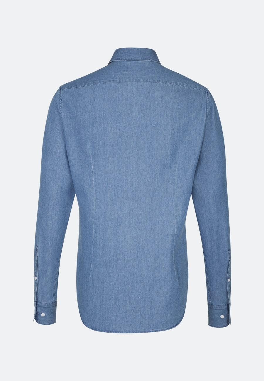 Bügelleichtes Denim Business Hemd in X-Slim mit Kentkragen in Mittelblau |  Seidensticker Onlineshop