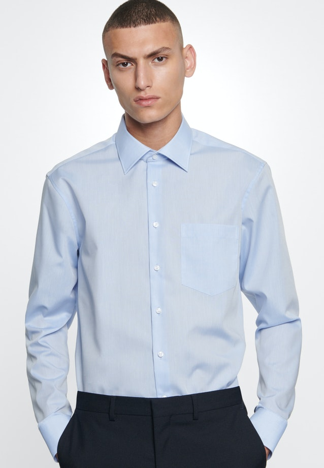 Non-iron Chambray Business Shirt in Comfort with Kent-Collar in Medium blue |  Seidensticker Onlineshop