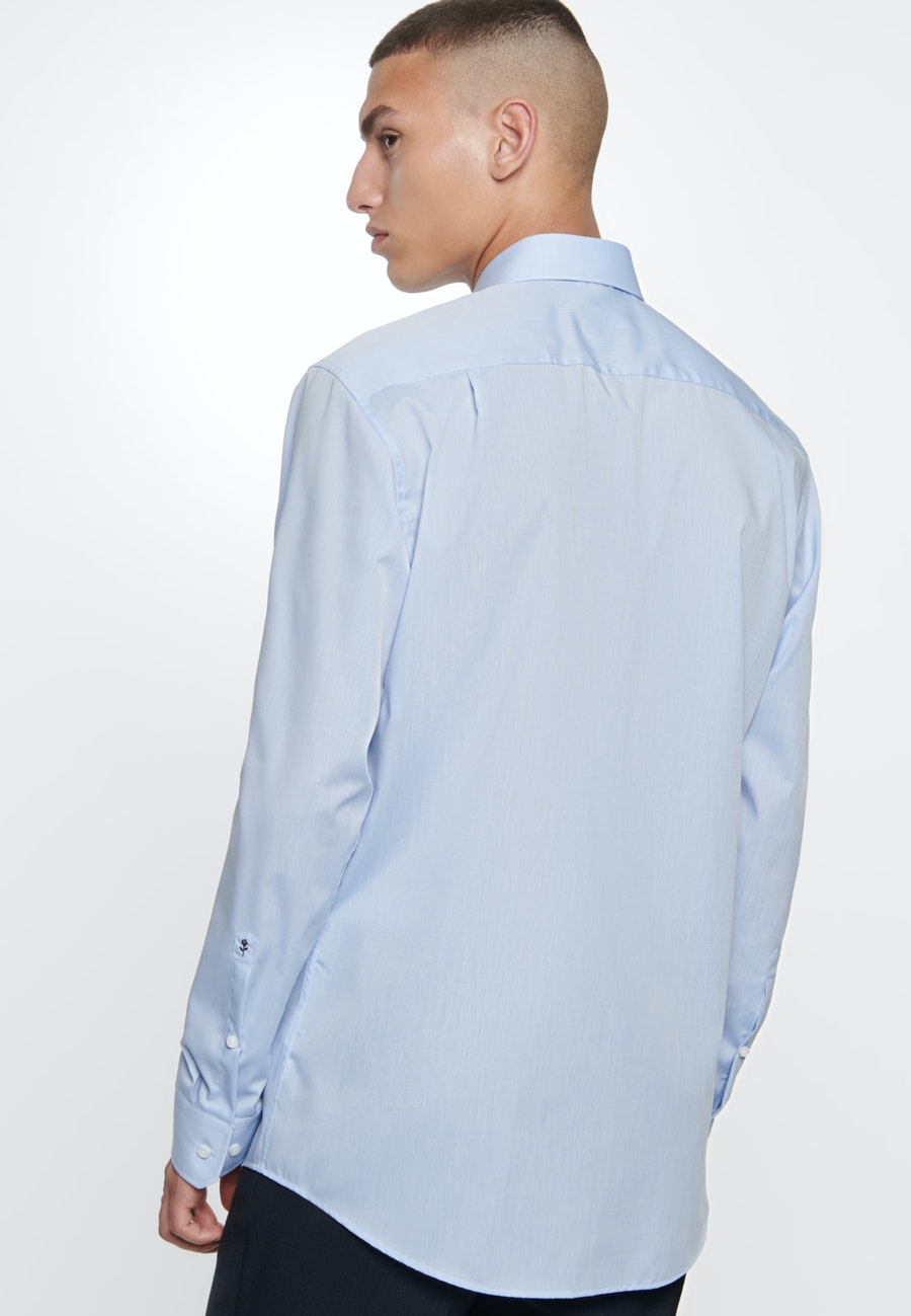 Bügelfreies Chambray Business Hemd in Comfort mit Kentkragen in Mittelblau |  Seidensticker Onlineshop