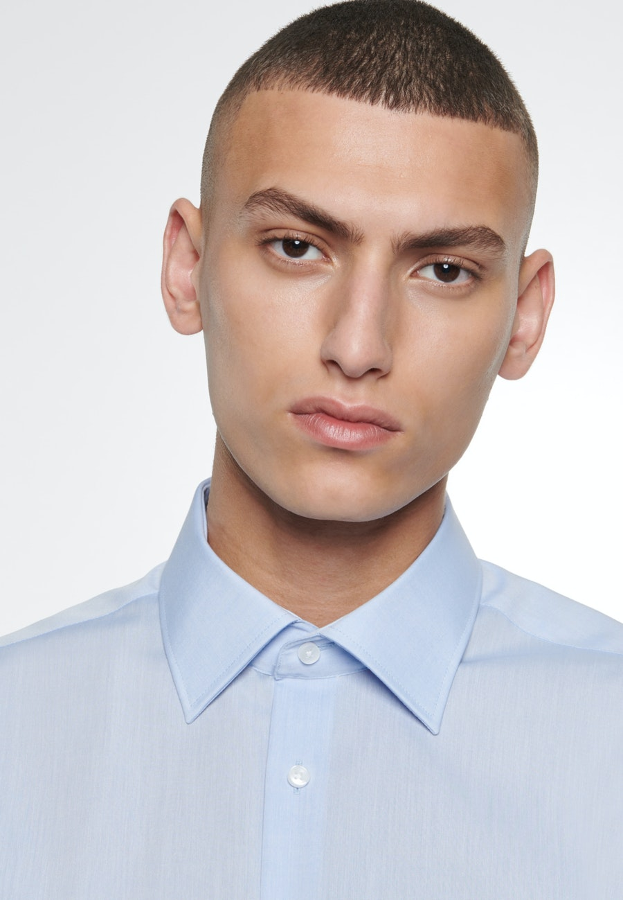 Non-iron Chambray Business Shirt in Comfort with Kent-Collar in Medium blue |  Seidensticker Onlineshop