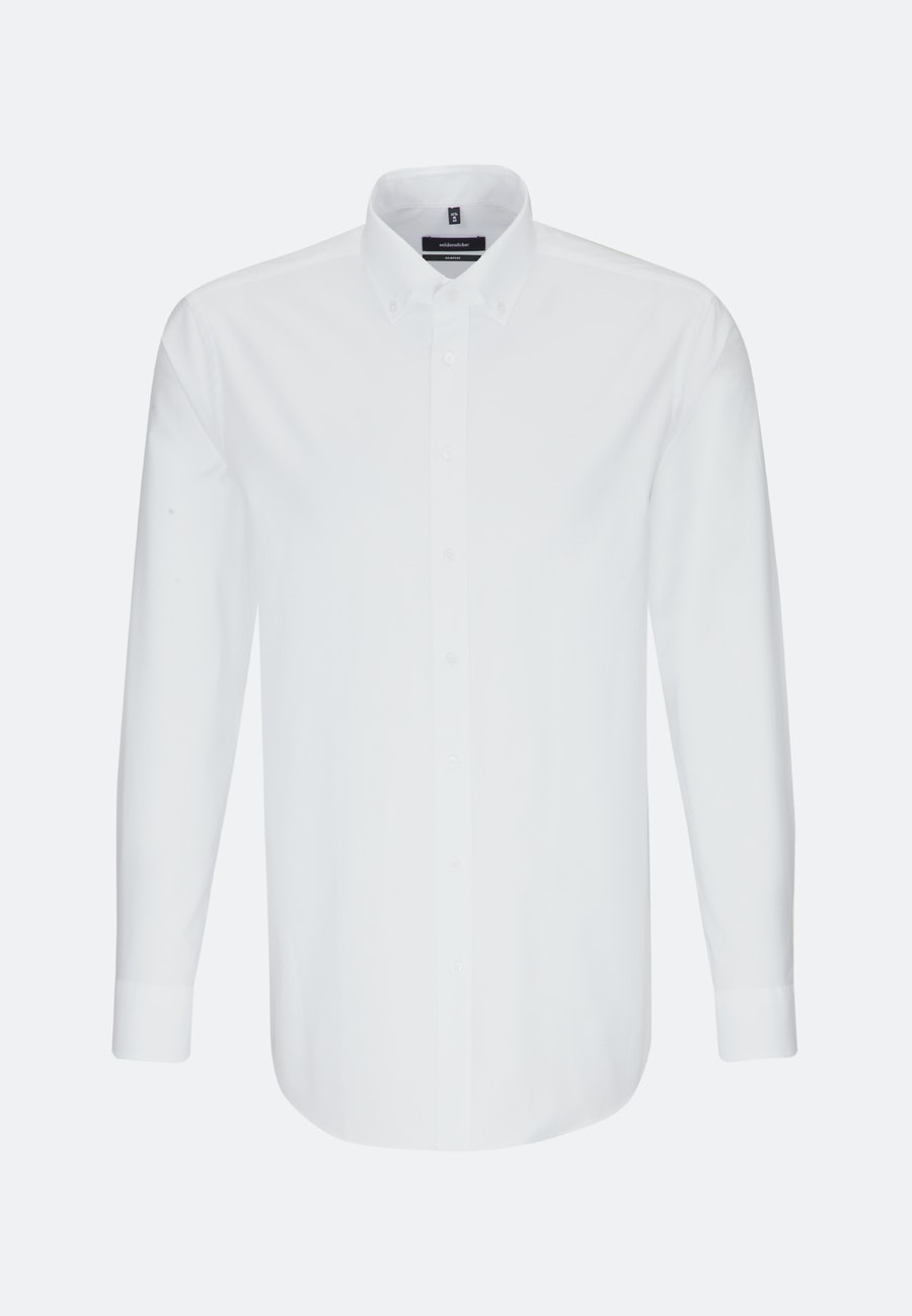 Bügelleichtes Oxford Business Hemd in Comfort mit Button-Down-Kragen in Weiß |  Seidensticker Onlineshop