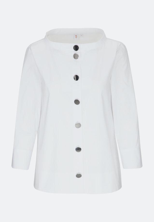 3/4 Arm Popeline Stehkragenbluse aus Baumwollmischung in Weiß |  Seidensticker Onlineshop
