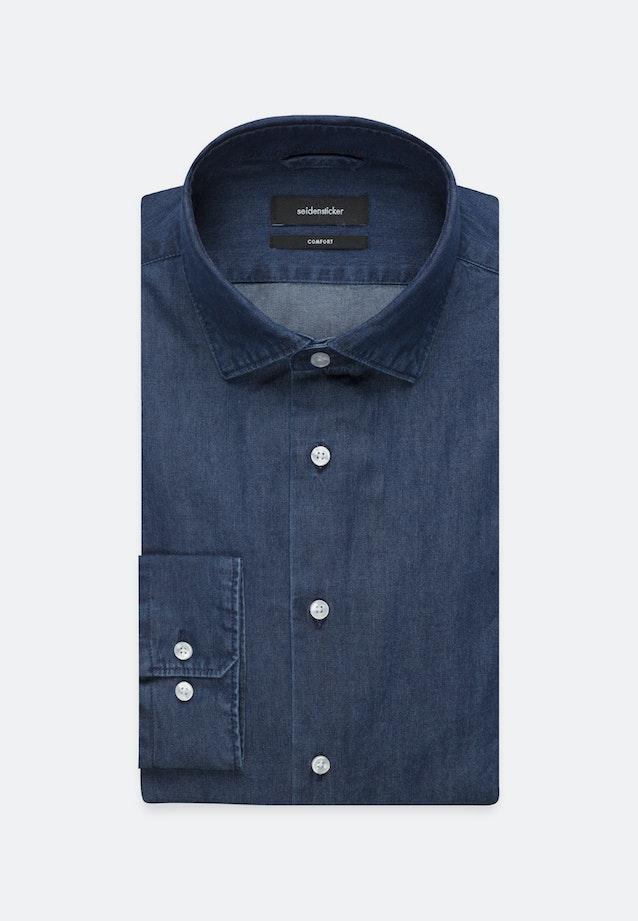 Bügelleichtes Denim Business Hemd in Comfort mit Kentkragen in Dunkelblau |  Seidensticker Onlineshop