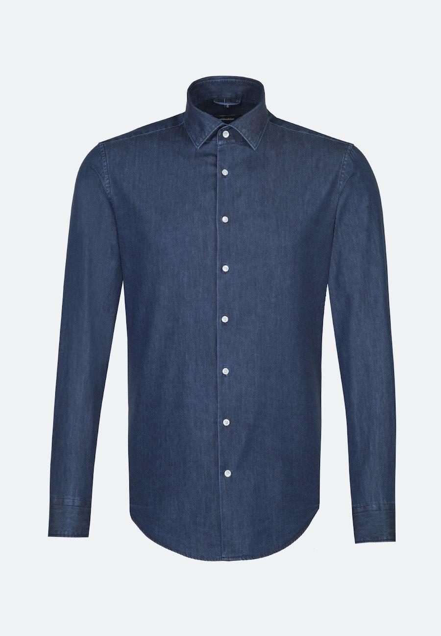 Bügelleichtes Denim Business Hemd in Comfort mit Kentkragen in Dunkelblau    Seidensticker Onlineshop