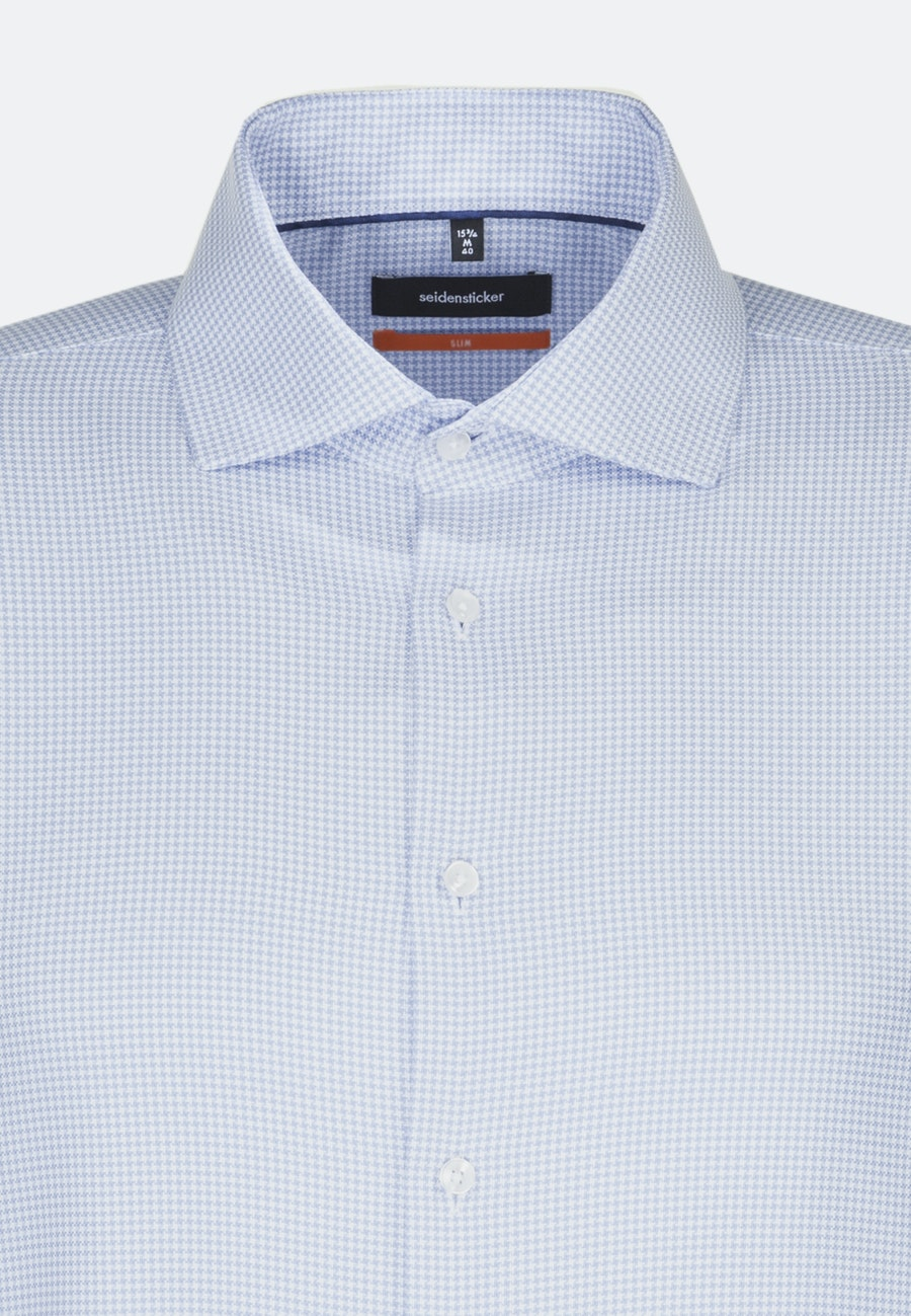 Non-iron Pepita Business Shirt in Slim with Kent-Collar in Medium blue |  Seidensticker Onlineshop