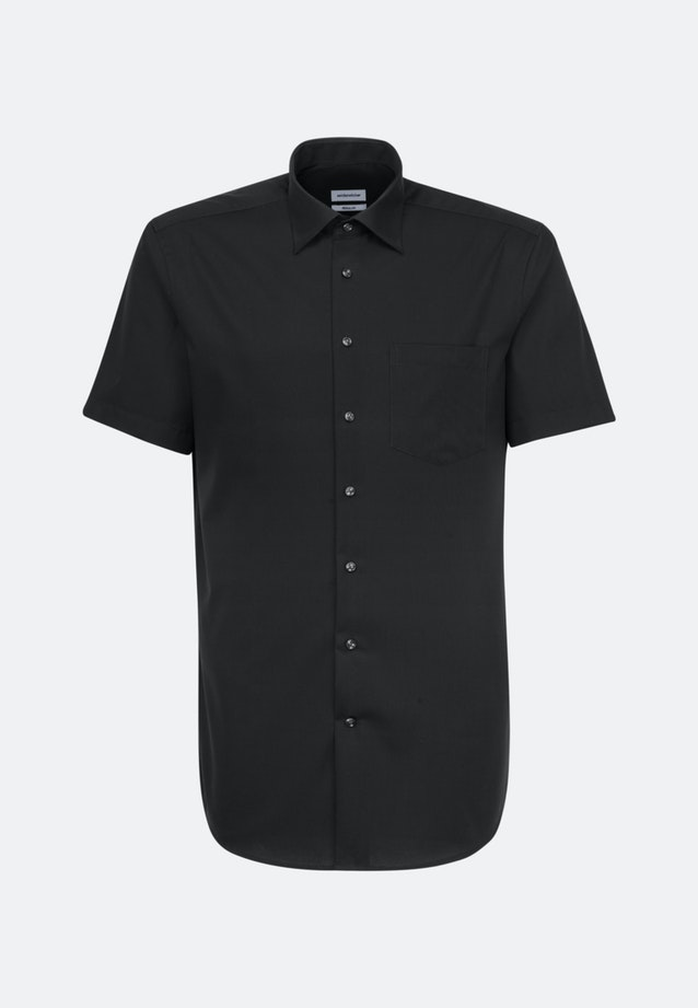 Non-iron Poplin Short sleeve Business Shirt in Regular with Kent-Collar in Black |  Seidensticker Onlineshop