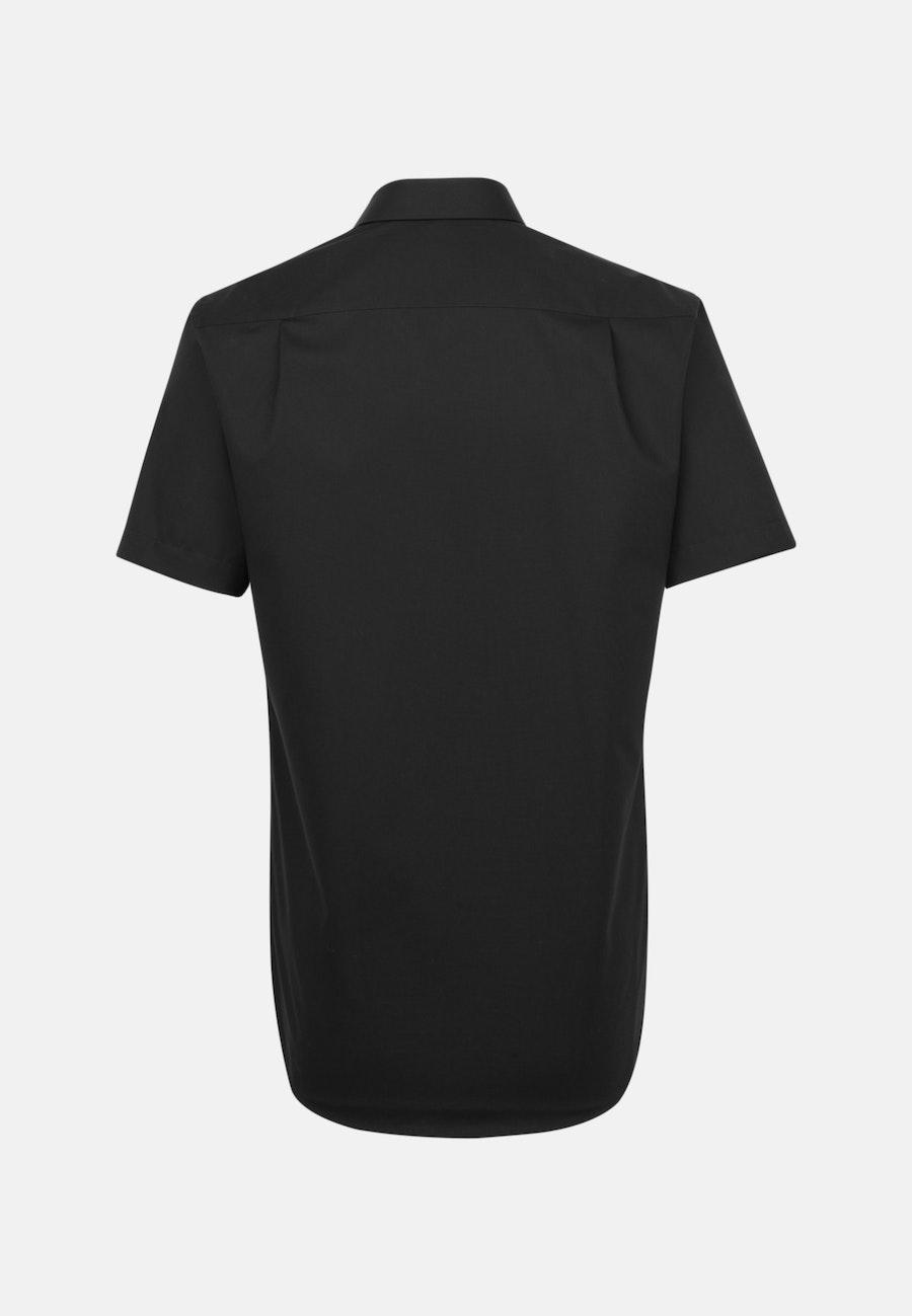 Bügelfreies Popeline Kurzarm Business Hemd in Regular mit Kentkragen in Schwarz    Seidensticker Onlineshop