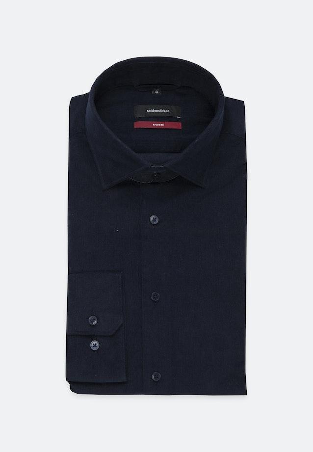 Easy-iron Corduroy Business Shirt in Regular with Kent-Collar in Dark blue    Seidensticker Onlineshop
