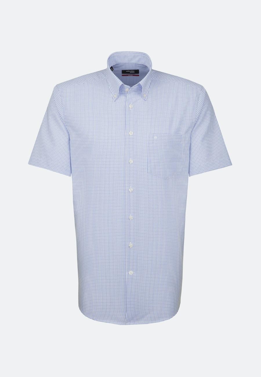 Non-iron Poplin Short sleeve Business Shirt in Regular with Button-Down-Collar in Medium blue    Seidensticker Onlineshop