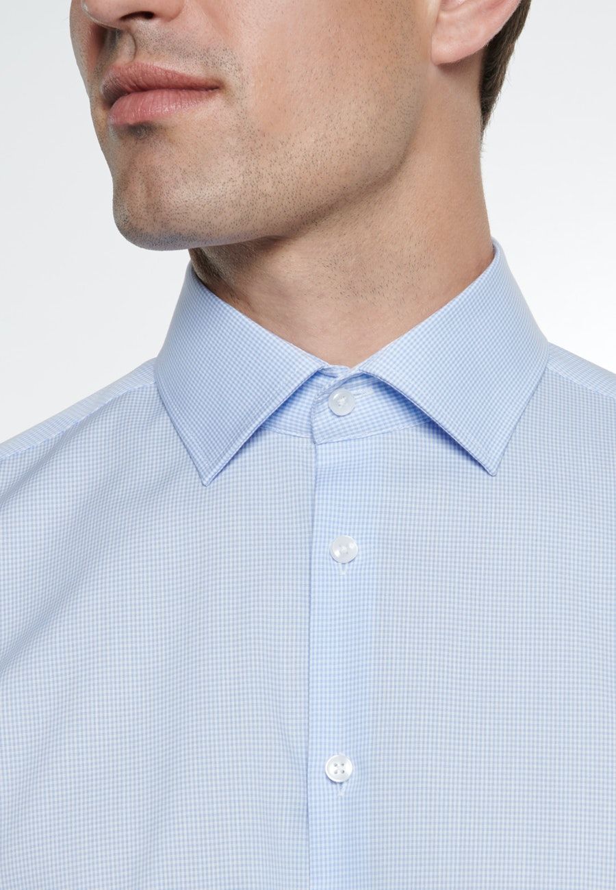 Bügelfreies Popeline Business Hemd in Shaped mit Kentkragen in Hellblau |  Seidensticker Onlineshop