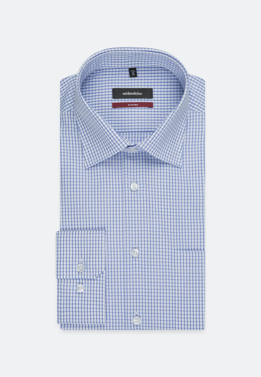 Non-iron Popeline Business Shirt in Regular with Kent-Collar and extra long sleeve in Medium blue |  Seidensticker Onlineshop