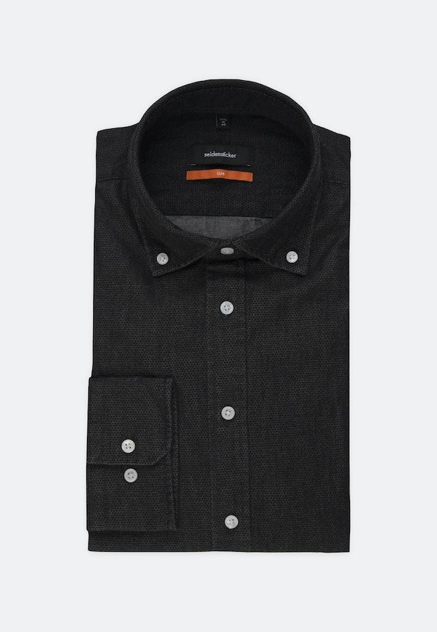 Easy-iron Denim Business Shirt in Slim with Button-Down-Collar in Black |  Seidensticker Onlineshop
