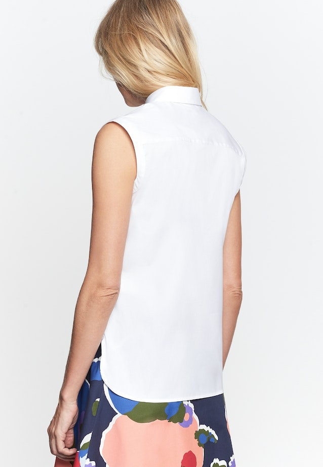 Sleeveless Popeline Shirt Blouse made of cotton blend in White |  Seidensticker Onlineshop