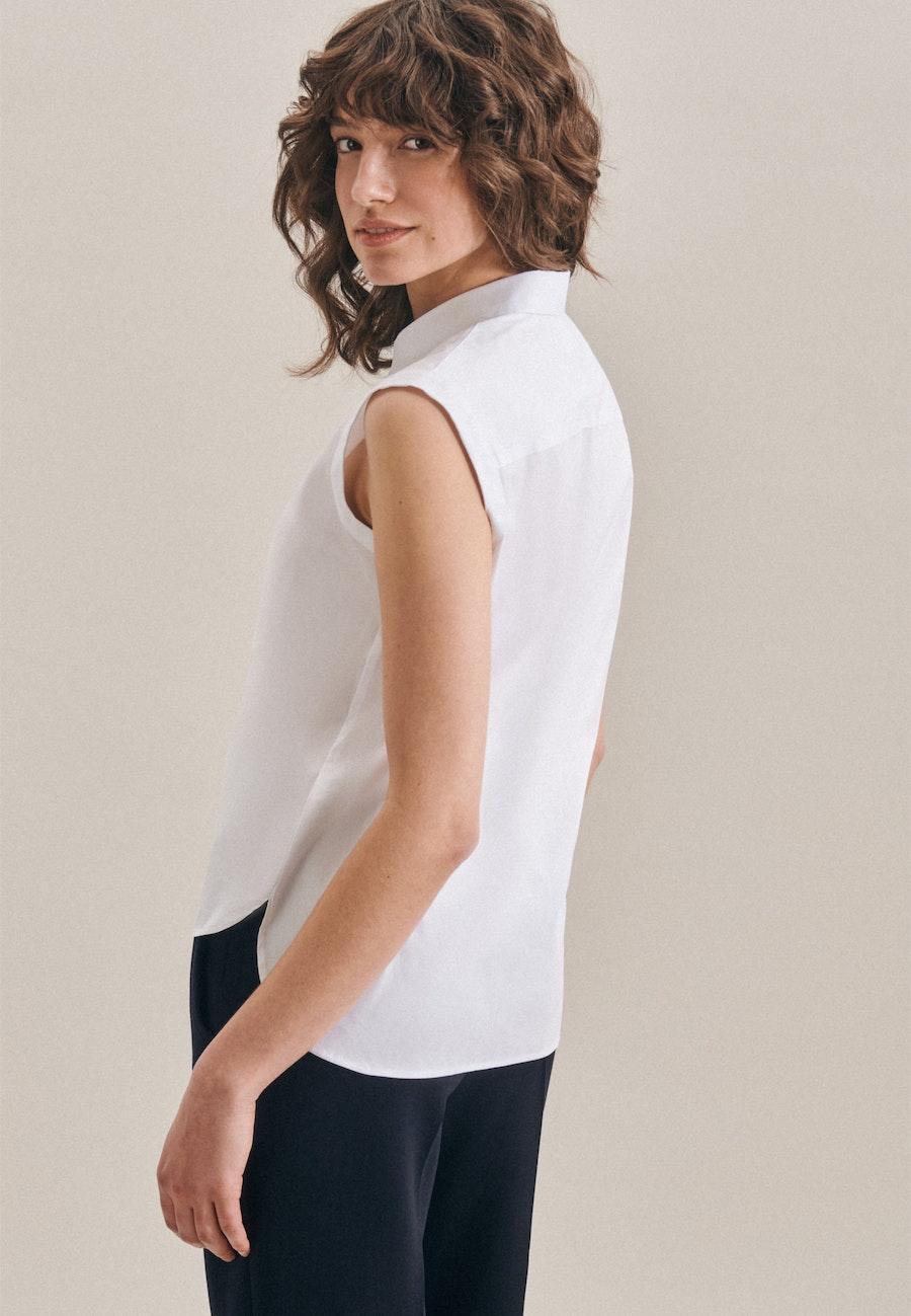 Sleeveless Popeline Shirt Blouse made of cotton blend in White |  Seidensticker Onlineshop